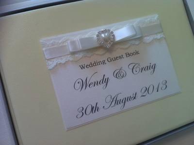 Lace & Diamante Pearl Heart Wedding Guest Book