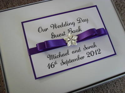 Diamante Flower Wedding Guest Book