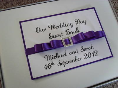 Diamante Square Buckle Wedding Guest Book