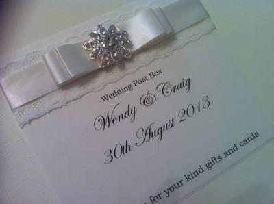 Large Diamante Cluster & Lace Wedding Post Box