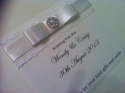 Diamante Pearl Cluster & Lace Wedding Post Box