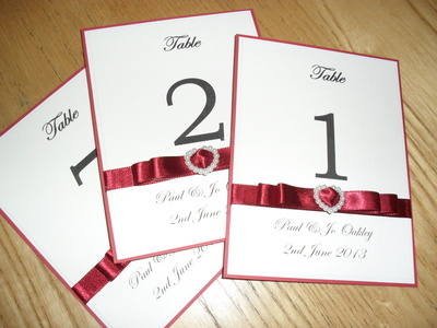 A6 Pearl Heart Table Numbers