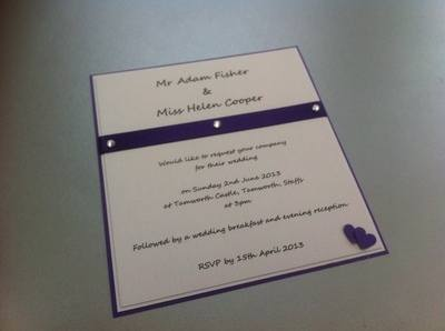 Double Heart & Diamante Invitation