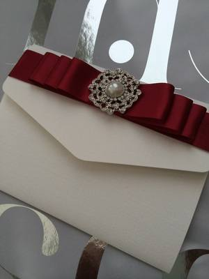 Luxury Pocket Fold Invitation Pearl & Diamante