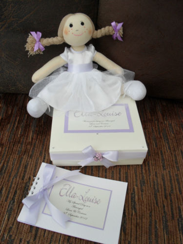 Flowergirl or Bridesmaid Rag Doll Gift in personalised gift box & scrap boo
