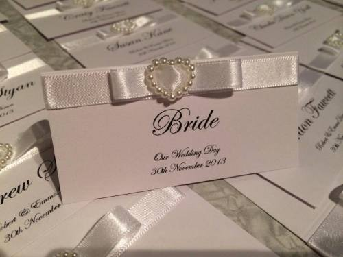 Diamante Heart Place Card