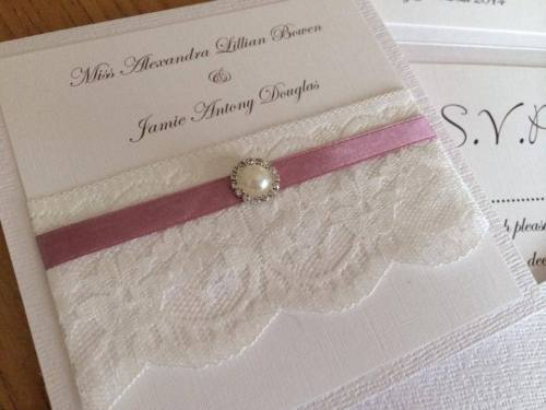 Vintage Lace & Pearl Wedding Invitation