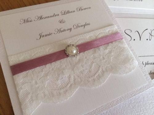 Vintage Lace & Pearl Wedding Invitation