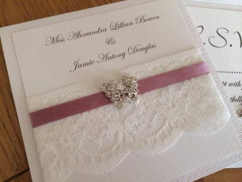 Vintage Butterfly Pocketfold Wedding Invitation