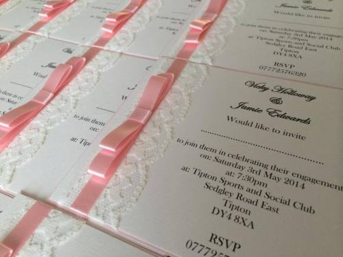Vintage Lace Wedding Invitation Postcard Style