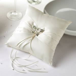 Ivory Elegant Butterfly Ring Pillow