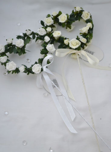 Vintage style heart wand with roses wedding flower girl bridesmaid posy bou