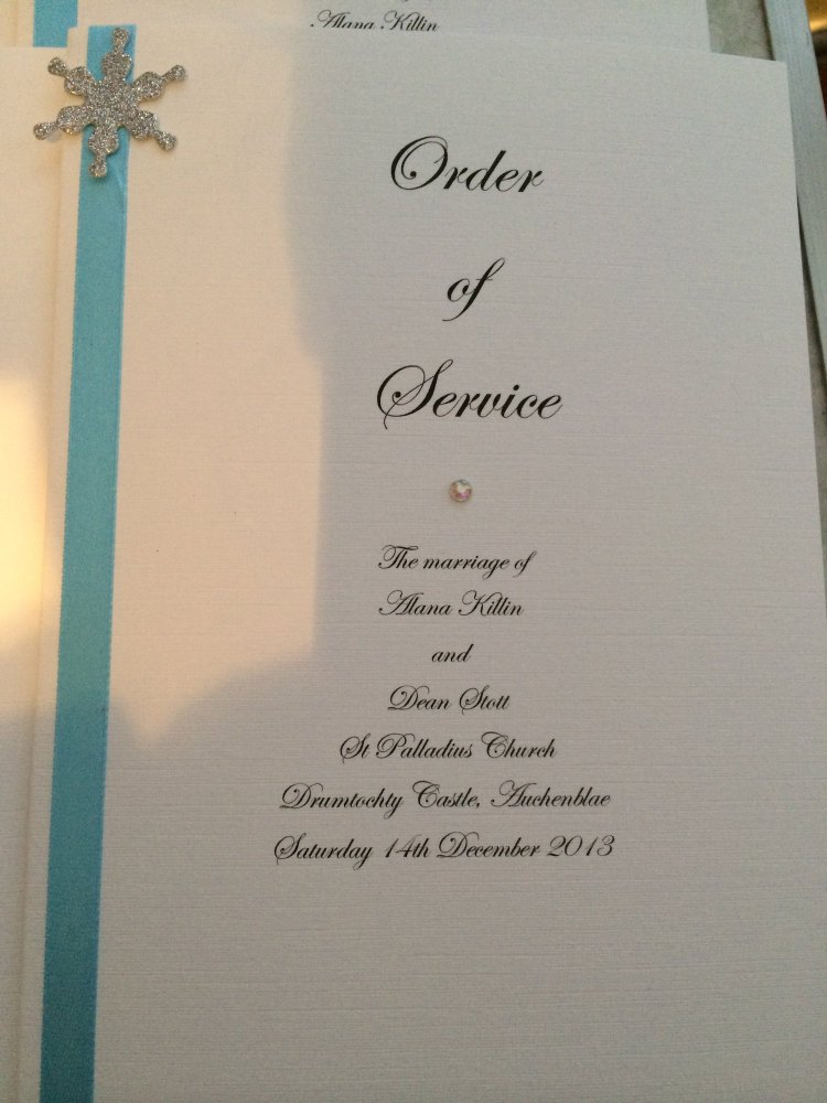Snowflake Order of Service Booklets