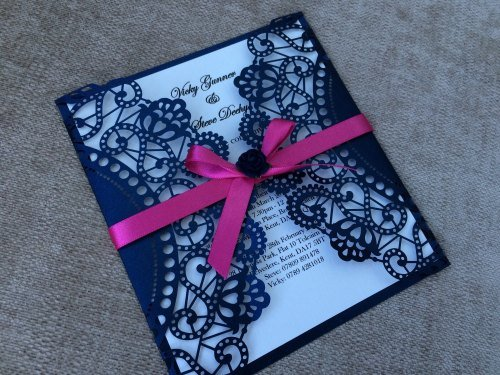 Vintage Lasercut Rose Wedding Invitation