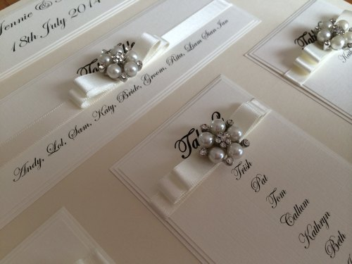 A3 Small Pearl & Diamante Cluster Seating Plan