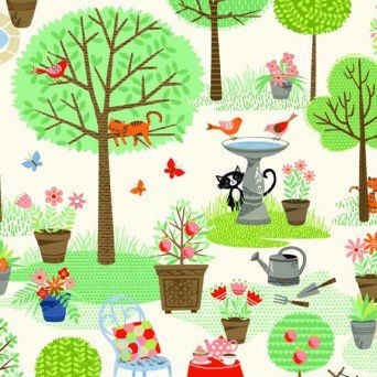 Crafty Cats - Garden - Cream