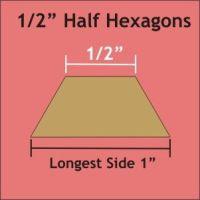 "1/2"" Half Hexagon Paper Pieces"