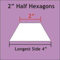 "2"" Half Hexagon Paper Pieces"