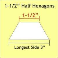 "1-1/2"" Half Hexagon Paper Pieces"