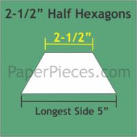 "2-1/2"" Half Hexagon Paper Pieces"