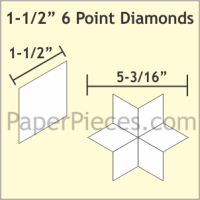 "1-1/2"" 6 Point/60 Degree Diamond Paper Pieces"