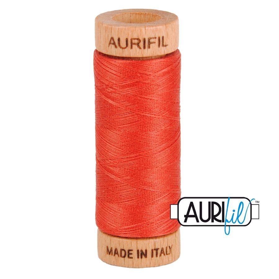 Aurifil Cotton 80wt, 2255 Dark Red Orange