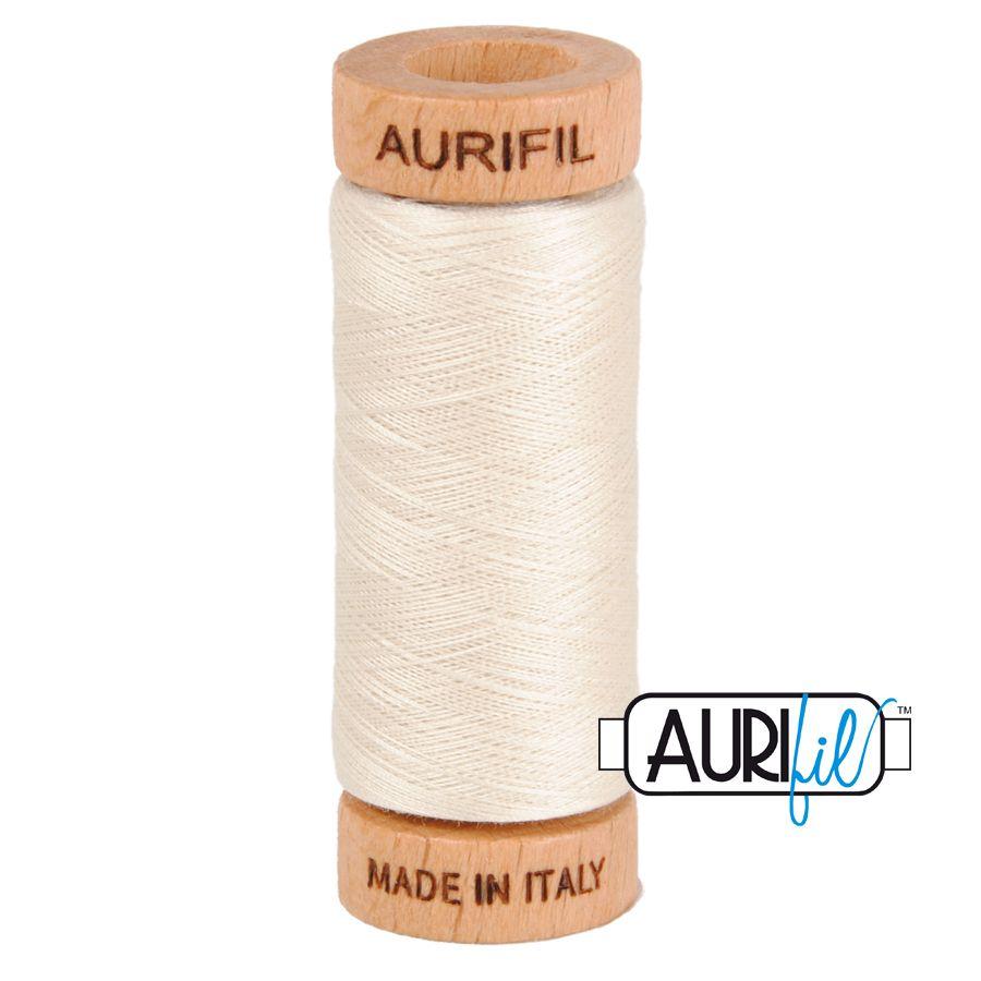 Aurifil Cotton 80wt, 2309 Silver White