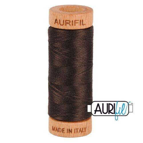 Aurifil Cotton 80wt, 1130 Very Dark Bark