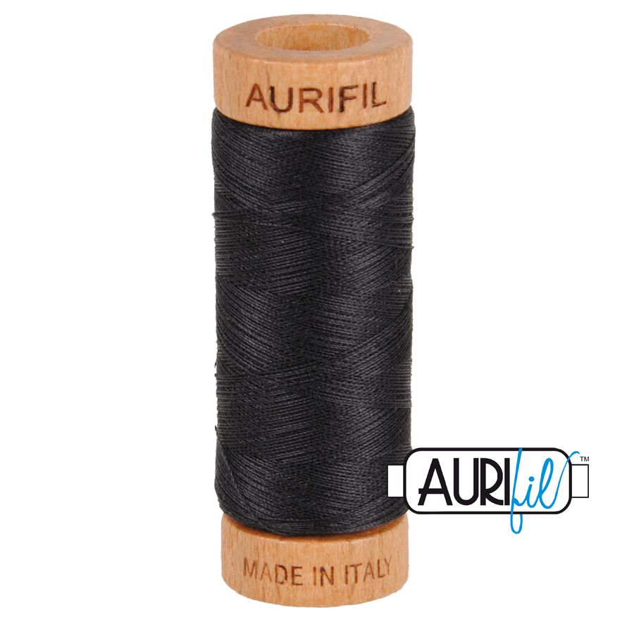 Aurifil Cotton 80wt, 4241 Very Dark Grey