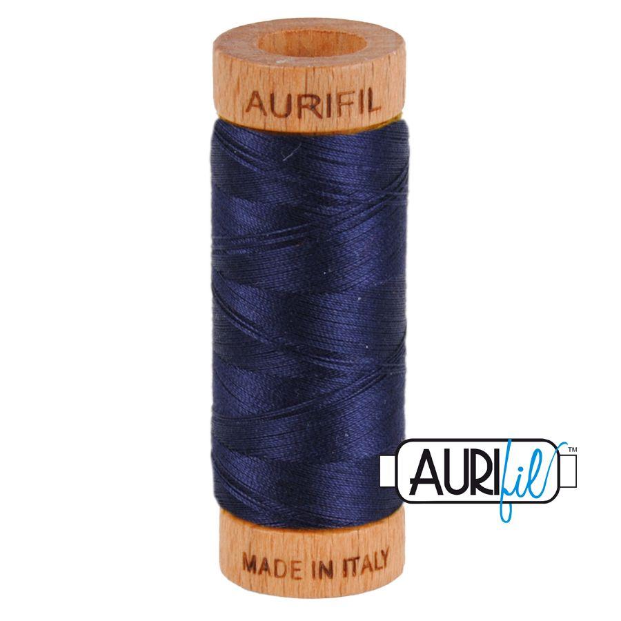 Aurifil Cotton 80wt, 2785 Very Dark Navy