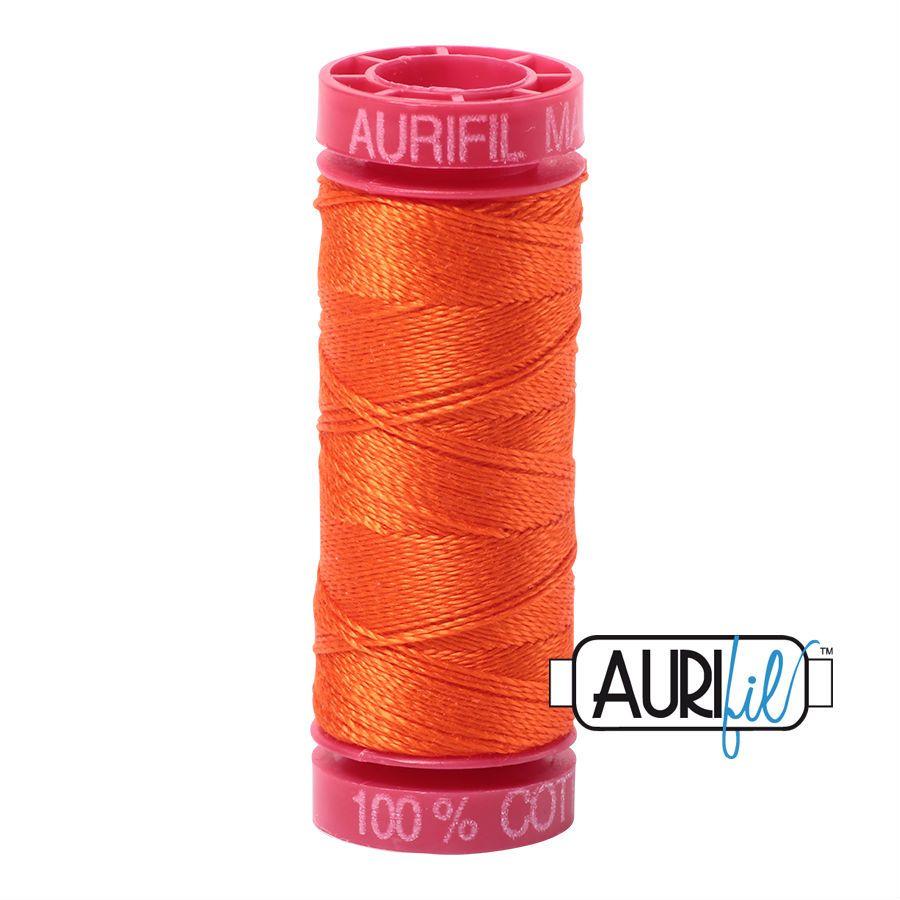 Aurifil Cotton 12wt, 1104 Neon Orange