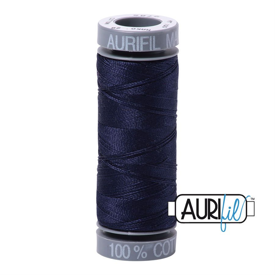 Aurifil Cotton 28wt, 2785 Very Dark Navy