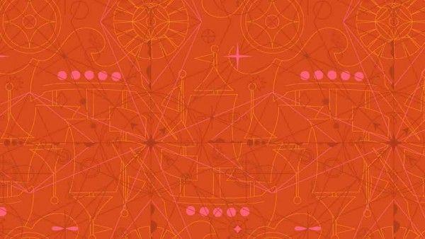 Makower - Alison Glass - Sun Prints 2018 - Compass - 8673O Marmalade
