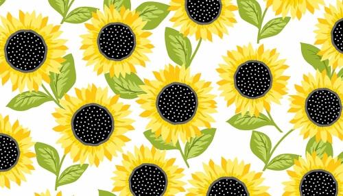 Makower - Sunny Bee - Sunflowers - White - 2/9431L
