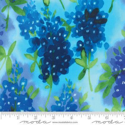 Moda - Fields of Blue - Watercolor Bluebonnets - 33450 13 (Aqua)