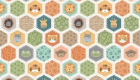 Makower - Jungle Friends - Hexagons - 2200/Q (Cream)