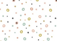 Makower - Modern Metallic Christmas - Stars - 1802/W (White)