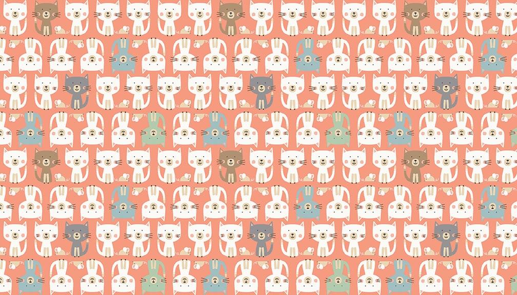 Makower - Cool Cats - Cats Parade - 2185/P (Pink)
