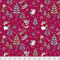 Free Spirit Fabrics - Winter Games - Raspberry - PWOB028.RASPBERRY