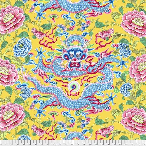 Snow Leopard Designs - Dragon & Peony - Yellow - PWSL082.YELLOW