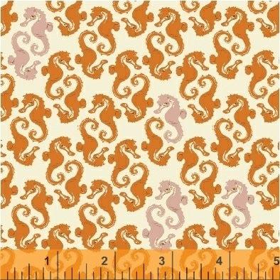 Windham Fabrics - Mendocino - Seahorses - 40941-15 (Orange)