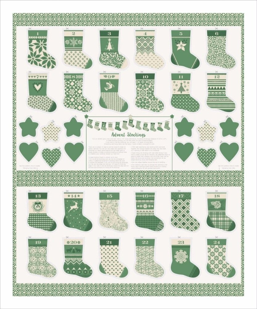 Moda - Merry Merry - Mini Stockings Panel - No. 27270-11 (Green)
