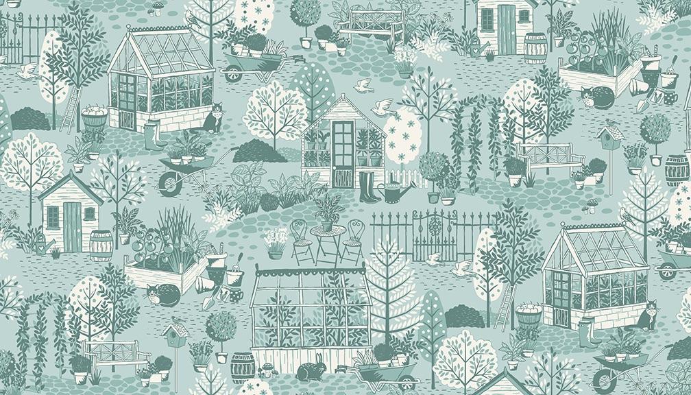 Makower - Clara's Garden - No. 2260/B Scene (Blue)