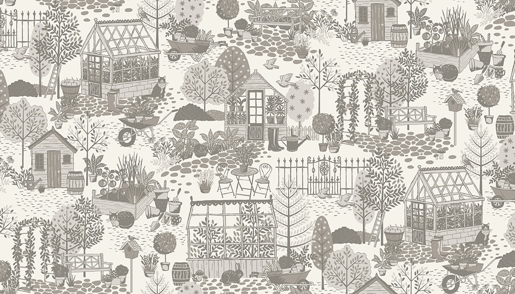 Makower - Clara's Garden - No. 2260/S Scene (Grey)