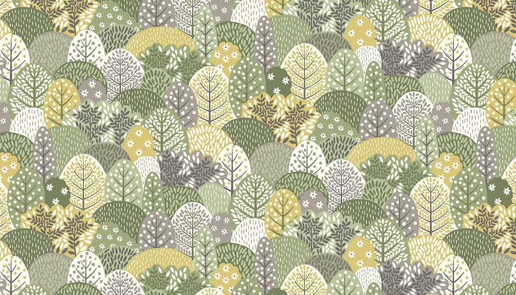 Makower - Clara's Garden - No. 2265/G Trees (Green)