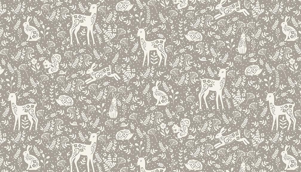 Makower - Clara's Garden - No. 2264/S Animals (Grey)