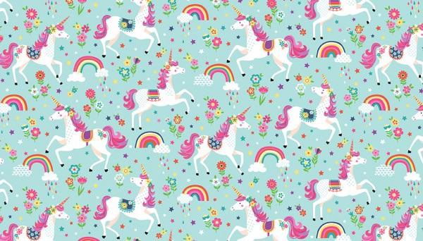 Makower - Daydream - No. 2275/T Unicorns (Teal)