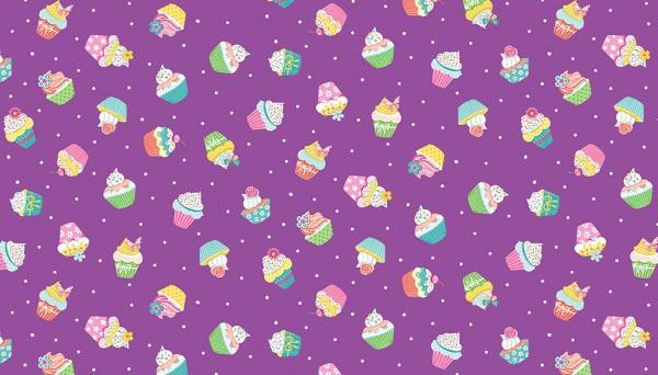 Makower - Daydream - No. 2277/L Cupcakes (Lilac)