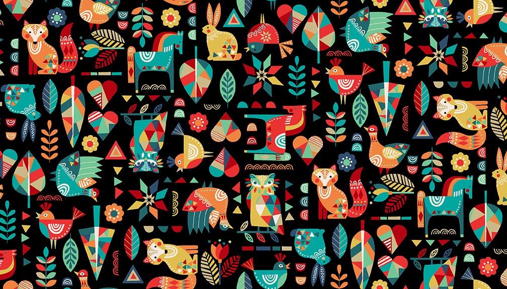 Makower- Folk Friends - No. 2300/X Animals (Black)
