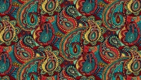 Makower - Folk Friends - No. 2303/X Paisley (Black)
